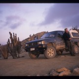 Striking a pose in the Atacama Desert, 'Andes to Amazon', 1999