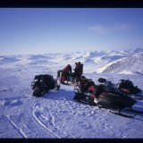 Filming Musk Ox in the winter near Nome, AK - we have temporarily mislaid them. 'Wild New World', 1998