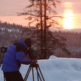 Filming the sun setting over the Cook Inlet, Anchorage, AK. 'Moose on the Loose', 2005