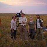 Fernando, me, Ruth & Renate filming in Emas NP